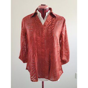 Coldwater Creek Orange Burnout Blouse - Size S